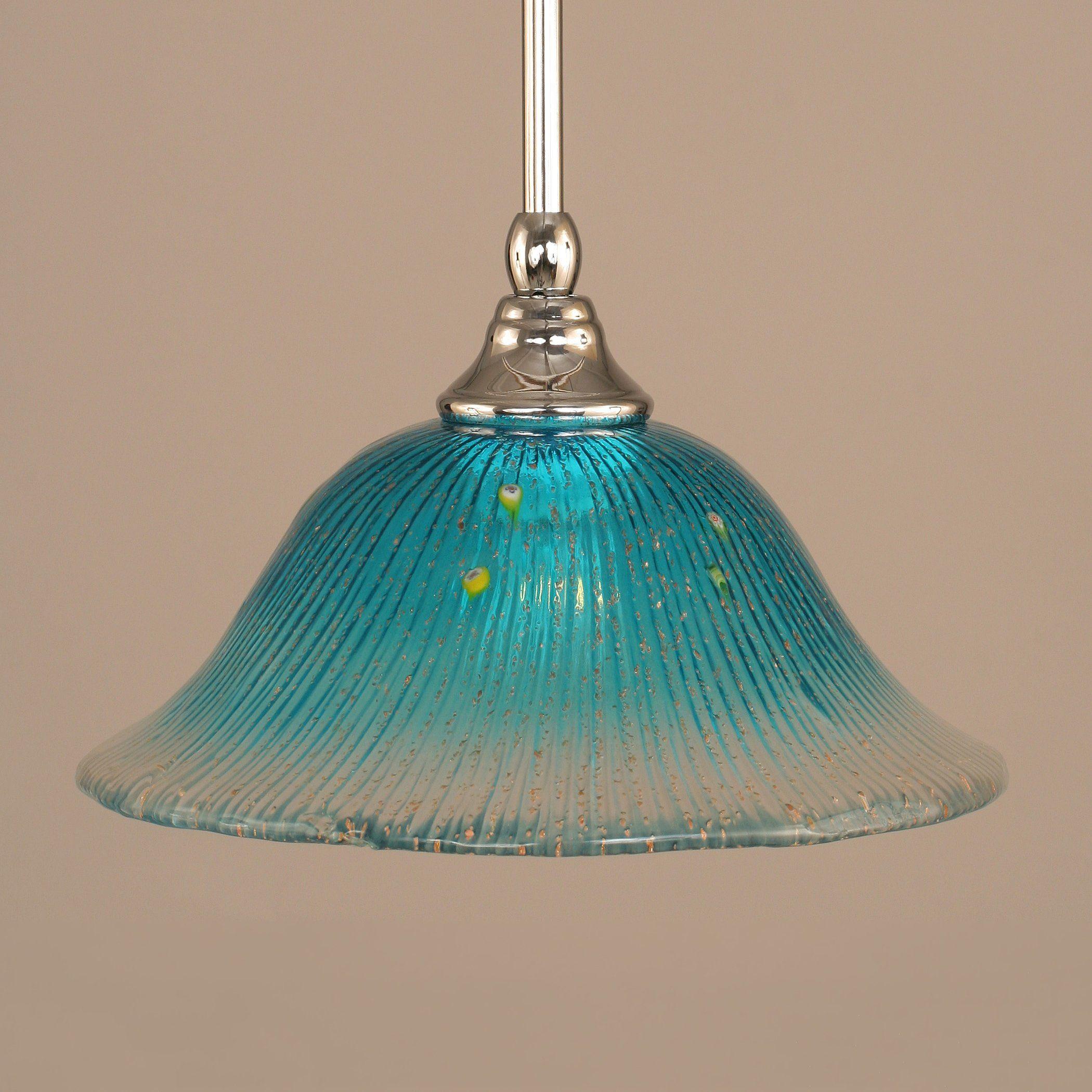 Toltec Lighting 23 438 Stem Mini Pendant with Teal Crystal Glass ...