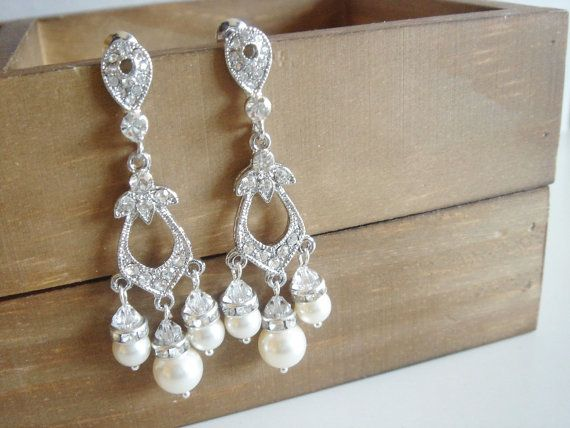 Sashlyn Victorian Style Chandelier Pearls and Lace by Ausentes, $39.00