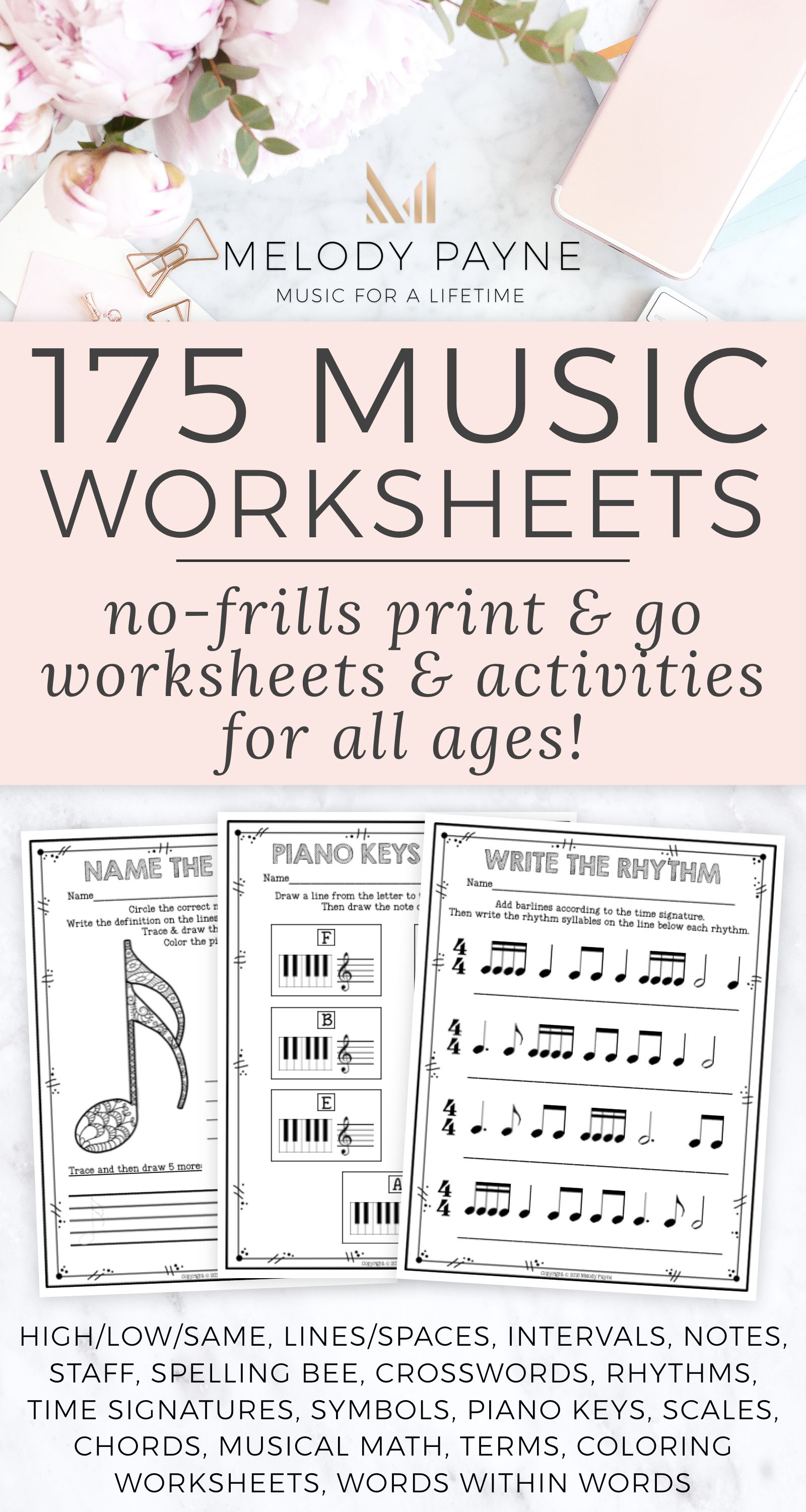 Music Worksheets 175 Print And Go No Frills No Prep Pages