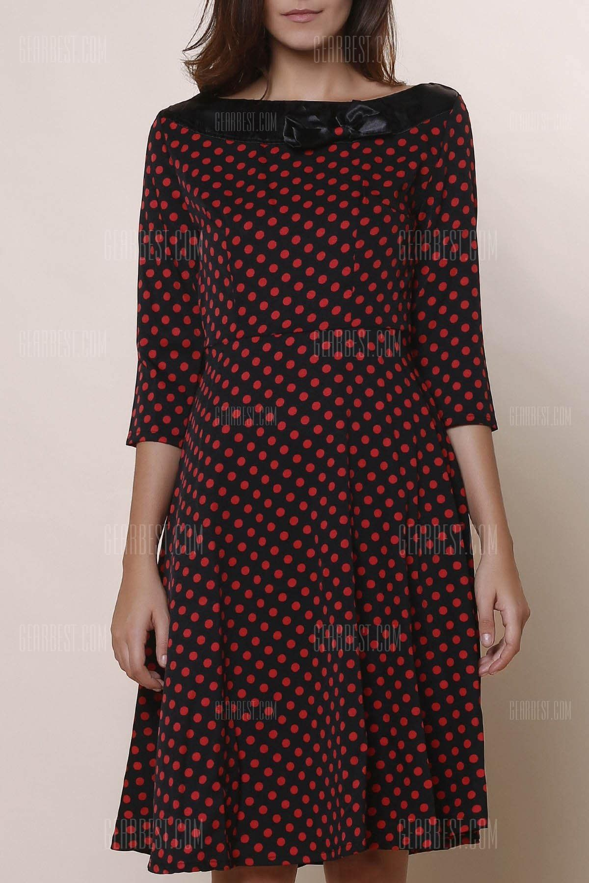 Vintage slash neck polka dot print bowknot design sleeve dress