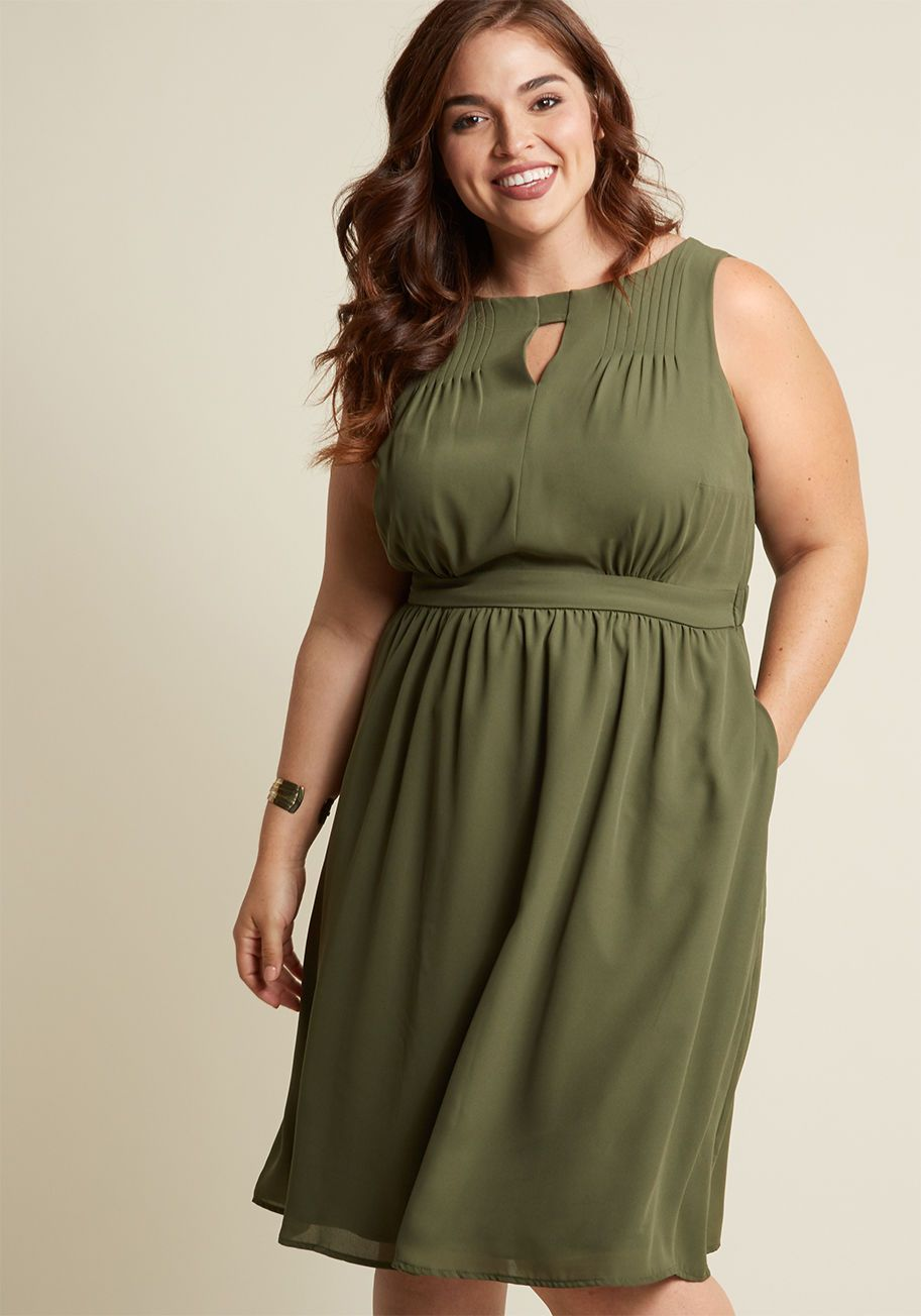 a35d314340e Chiffon Keyhole A-Line Dress with Pockets in Olive