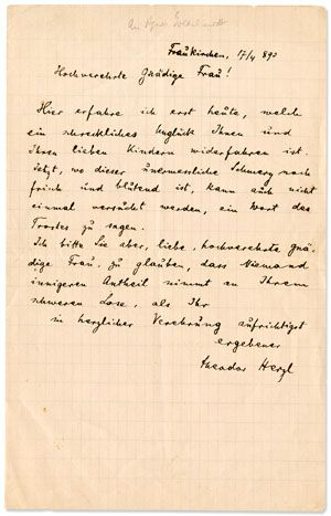 Theodor Herzl Writes A Condolence Letter Seemingly In Connection