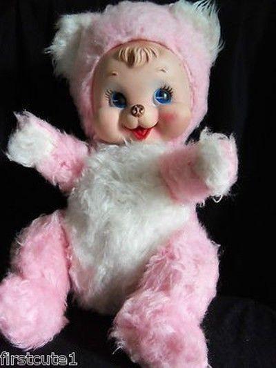 Adorable 1950 S Rushton Rare Pink Rubber Face Teddy Bear