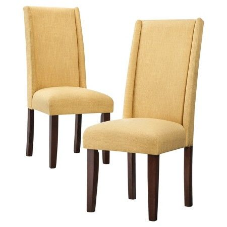 Charlie Modern Wingback Dining Chair - Yellow (Set of 2)  Target