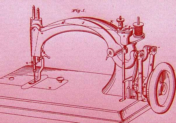 James Gibbs sewing machine. James did not only make the usual models, this is from an 1877 patent application.
