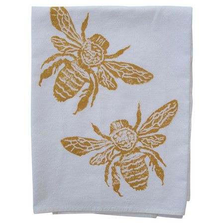 Showcasing A Bee Motif In Gold This Hand Block Printed Cotton Dishtowel Lends Touch Of Charm To Your Kitchen Decor