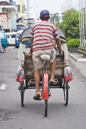 Becak, traditional yogyakarta transportation