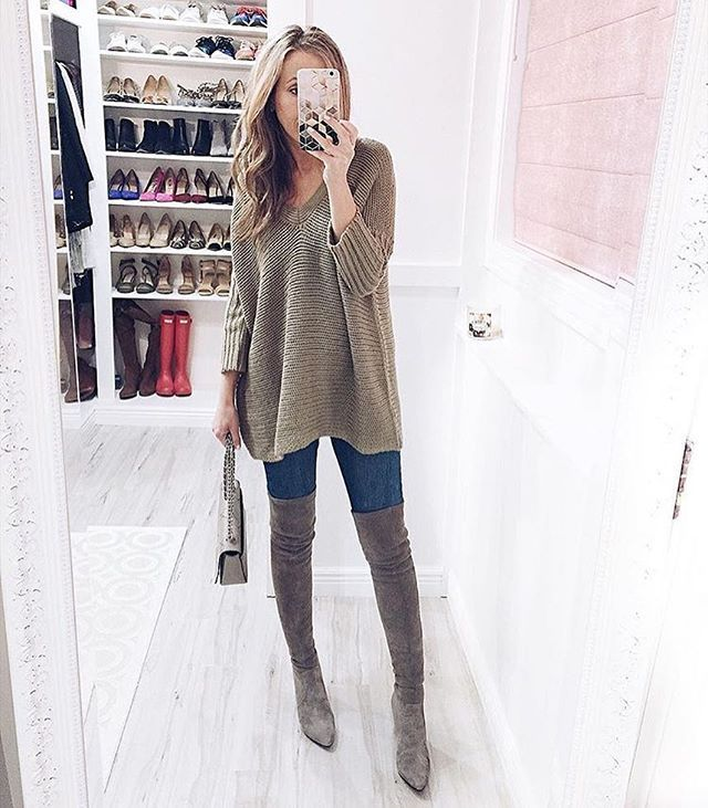8d33adea18c GOODNIGHT MACAROON OTK BOOTS CARINA OVER THE KNEE SUEDE BEIGE SAND NUDE  BOOTS POINT TOE HEELS PUMP WINTER OUTFIT CLASSY SWEATER Shop this Instagram  from   ...