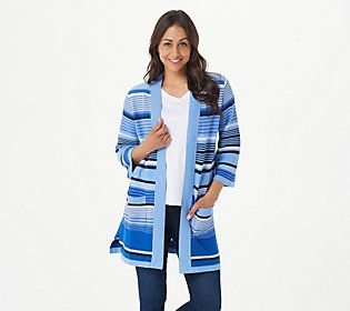 Bold and bright stripes for a bold and bright woman -- this striped cardi is the vibrant layer that accentuates your individuality. From Isaac Mizrahi Live!TM.