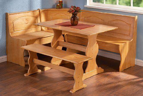 Pleasing Amazon Com Linon Chelsea Nook Dining Table And Bench Set In Spiritservingveterans Wood Chair Design Ideas Spiritservingveteransorg