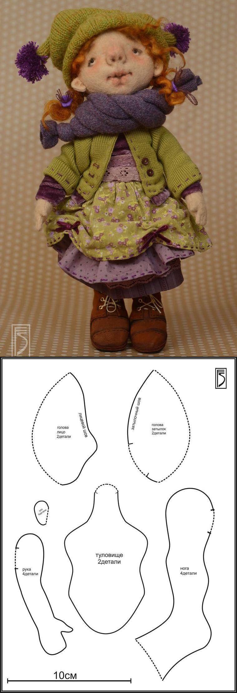 Felt doll tutorial with pattern / Шьем игровую куклу из фетра для больших и маленьких девочек