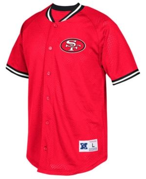 da750c749ac Mitchell   Ness Men s San Francisco 49ers Seasoned Pro Mesh Button Front  Shirt - Red XXL
