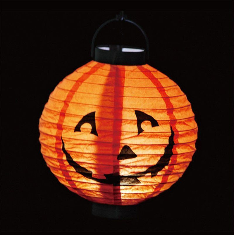 1 pcs Halloween Decoration LED Paper Pumpkin Bat Spider Light
