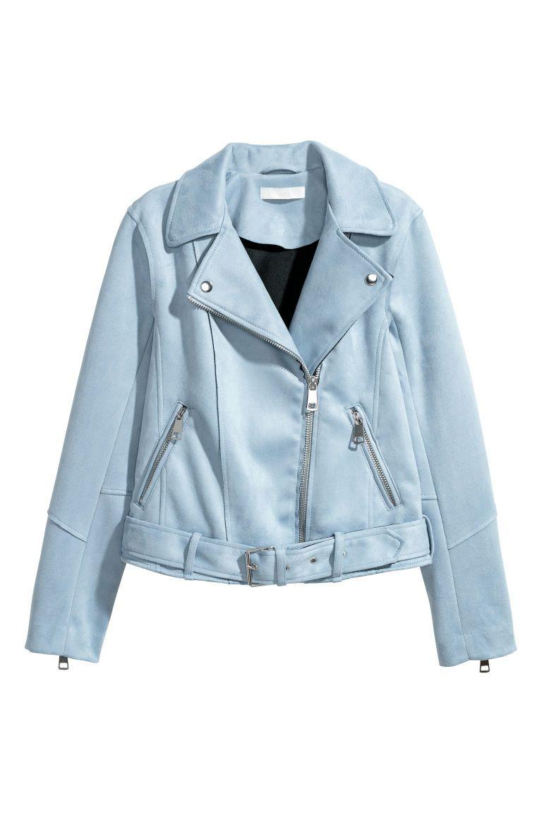 Bikerjack Van Imitatiesuede Lichtblauw Dames H M Nl Suede Biker Jacket Blue Leather Jacket Faux Suede Biker Jacket [ 1152 x 768 Pixel ]