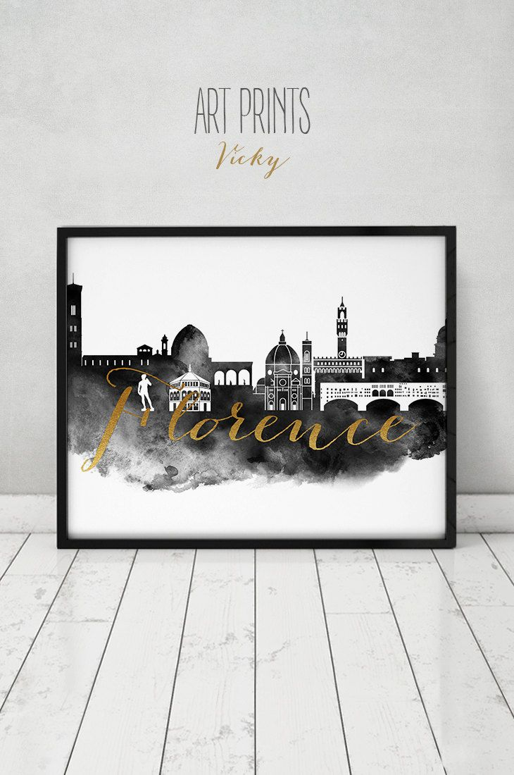 Florence Print Watercolor Poster Black And White Wall Art Florence Skyline Firenze Italy Faux Gol Black And White Wall Art Florence Wall Art Poster Prints