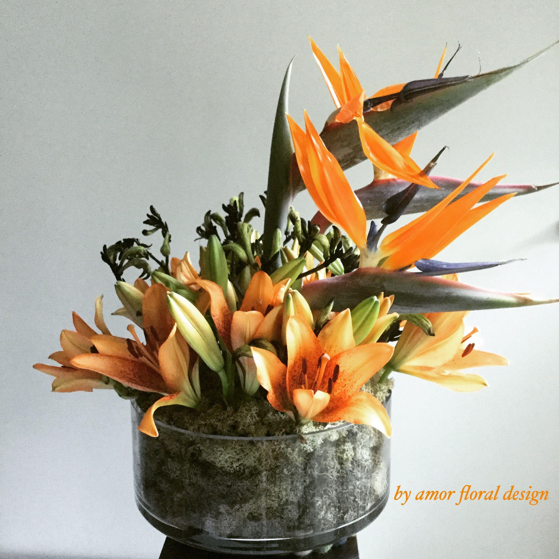 Flower Arrangement In Vase Birds Of Paradise Flower Mix With Lilies
