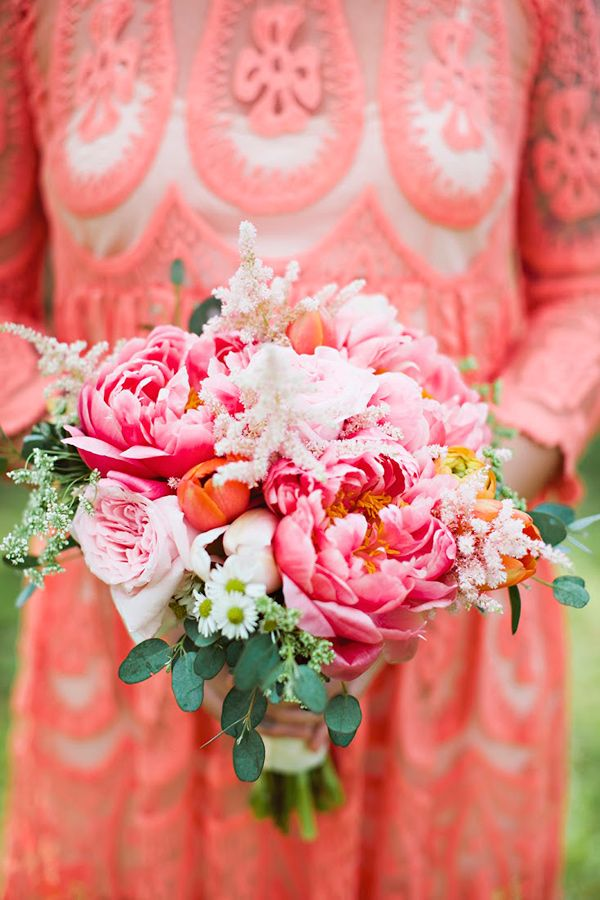 coral charm peony bouquet - photo by Julie Harmsen Photography http://ruffledblog.com/romantic-big-island-hawaii-wedding