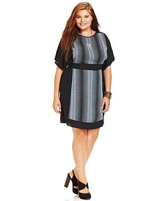 Angie Plus Size Dress, Short-Sleeve Printed Empire - Junior Plus ...