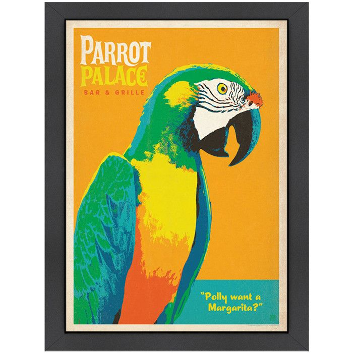 Parrot Palace Framed Print Gallery Wrap Canvas Retro Poster Anderson Design Group