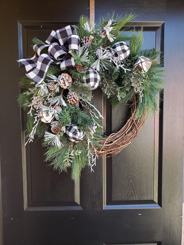 Photo of Buffalo Check Christmas Wreath~ Country Farmhouse Winter Wreaths~Black and White Door Wreaths~Lodge Door Wreaths~Wood Land ~