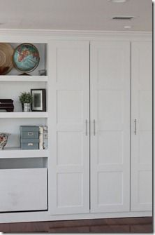 Ikea built-ins hack - could make a combo wall with pax wardrobe and bookshelves, pax and desk/shelves, etc.....