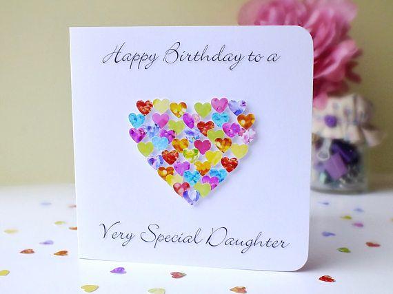 Birthday Card For Daughter Handmade Birthday Card For A Very Etsy Happy Birthday Cards Birthday Cards Personalized Birthday Cards
