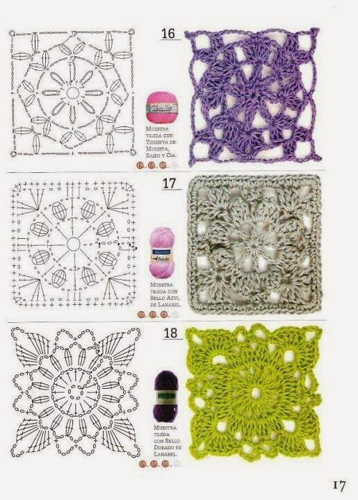 Granny squares #Patron #Crochet   Crochet - Granny Squares - Charted ...