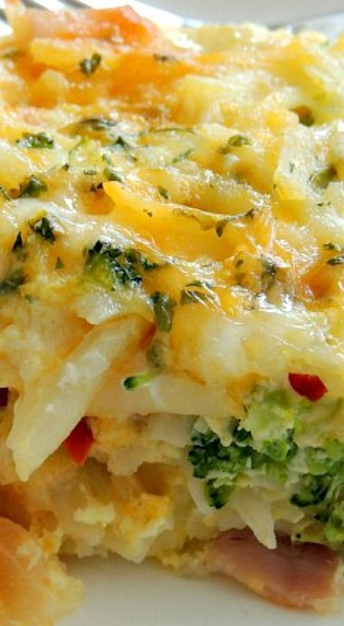 Potato Broccoli Pepper Jack Egg Casserole