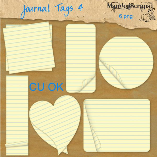 Journal Tags 4 [Mandogscraps] - There are 6 journal pieces in this set... much larger than shown in preview CU OK no credit required