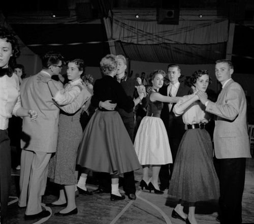 High school prom, 1950s.