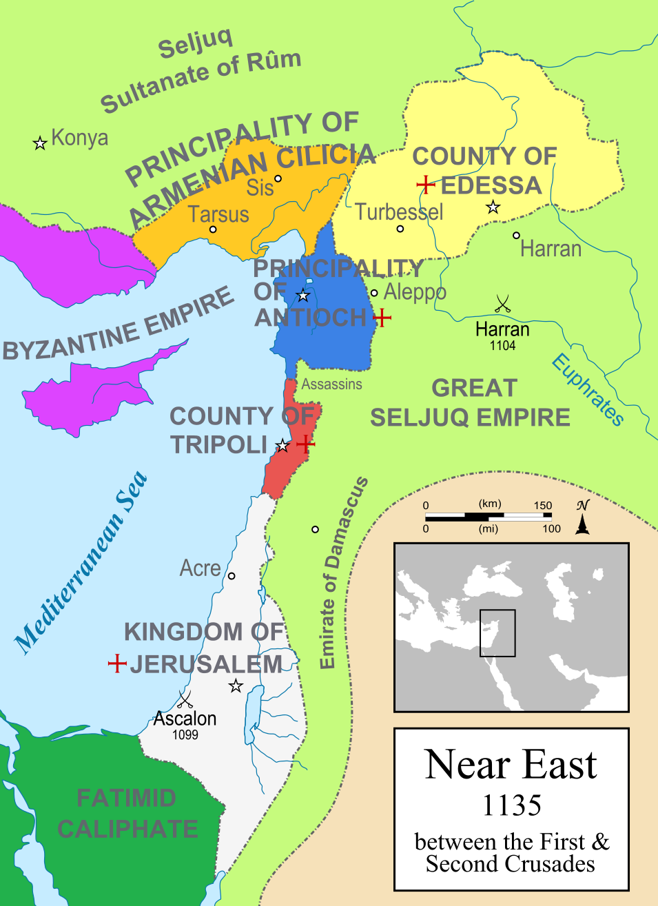 A political map of the Near East in 1135 CE Crusader states are