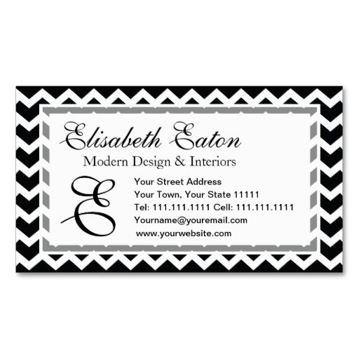 Black and White Chevron Zig Zag Retro Elegance Business Card ...