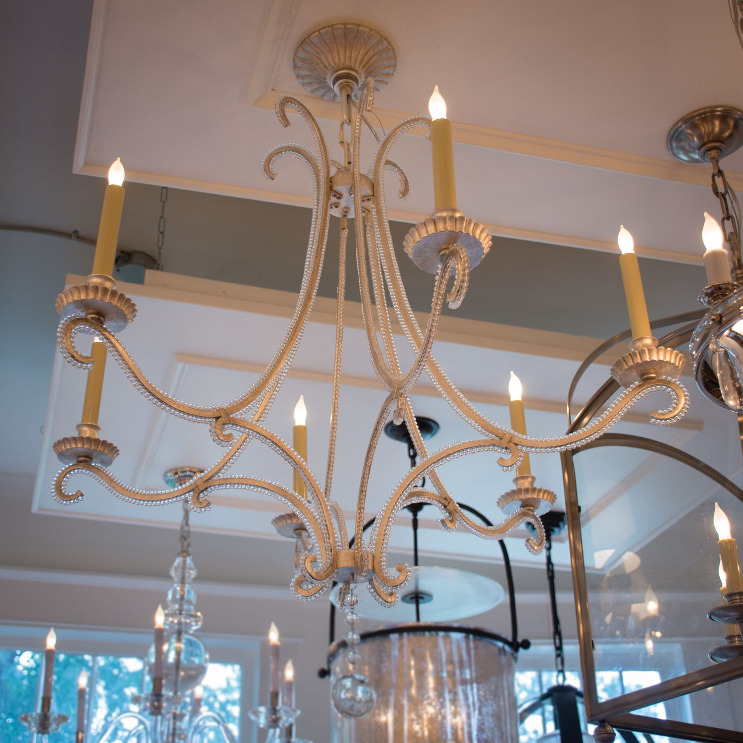 Oslo Chandelier In Burnished Silver Leaf With Crystal By Visual Comfort Co Please Call