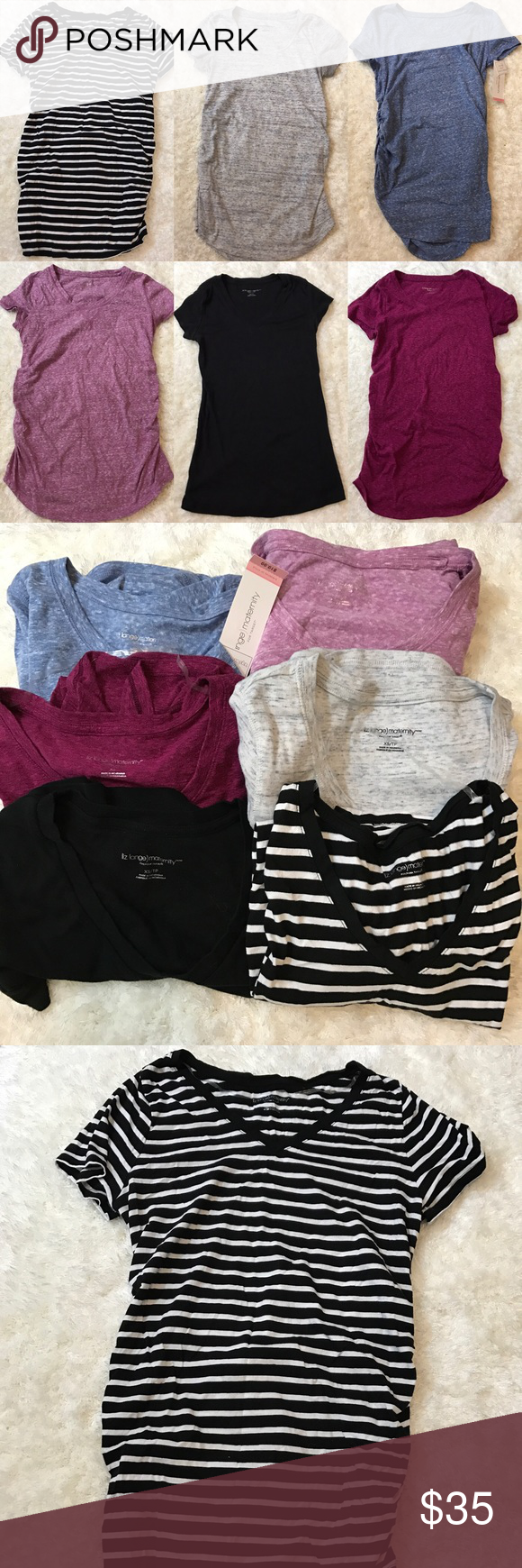 65412bab11609 Lot 6 Liz Lange Maternity short sleeve shirt XS 6 Liz Lange Maternity shirts.  5 are XS 1 is small (the black and white striped) 1 is brand new with tags  ...