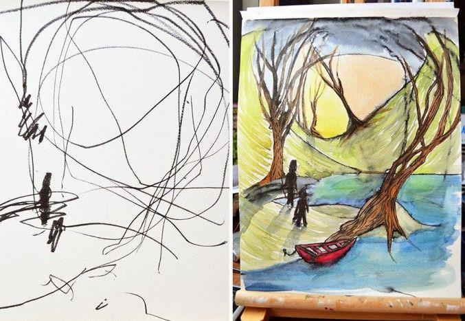 Schetsen van een tweejarige worden creatieve tekeningen Roomed | roomed.nl