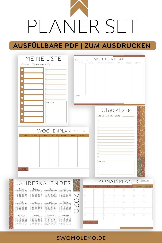 Kalender 2020 Vorlagen Set Zum Ausdrucken Ausfullbare Pdf Dateien Terracotta Optik In 2020 Planer Vorlagen Kalender Vorlagen Jahreskalender Zum Ausdrucken