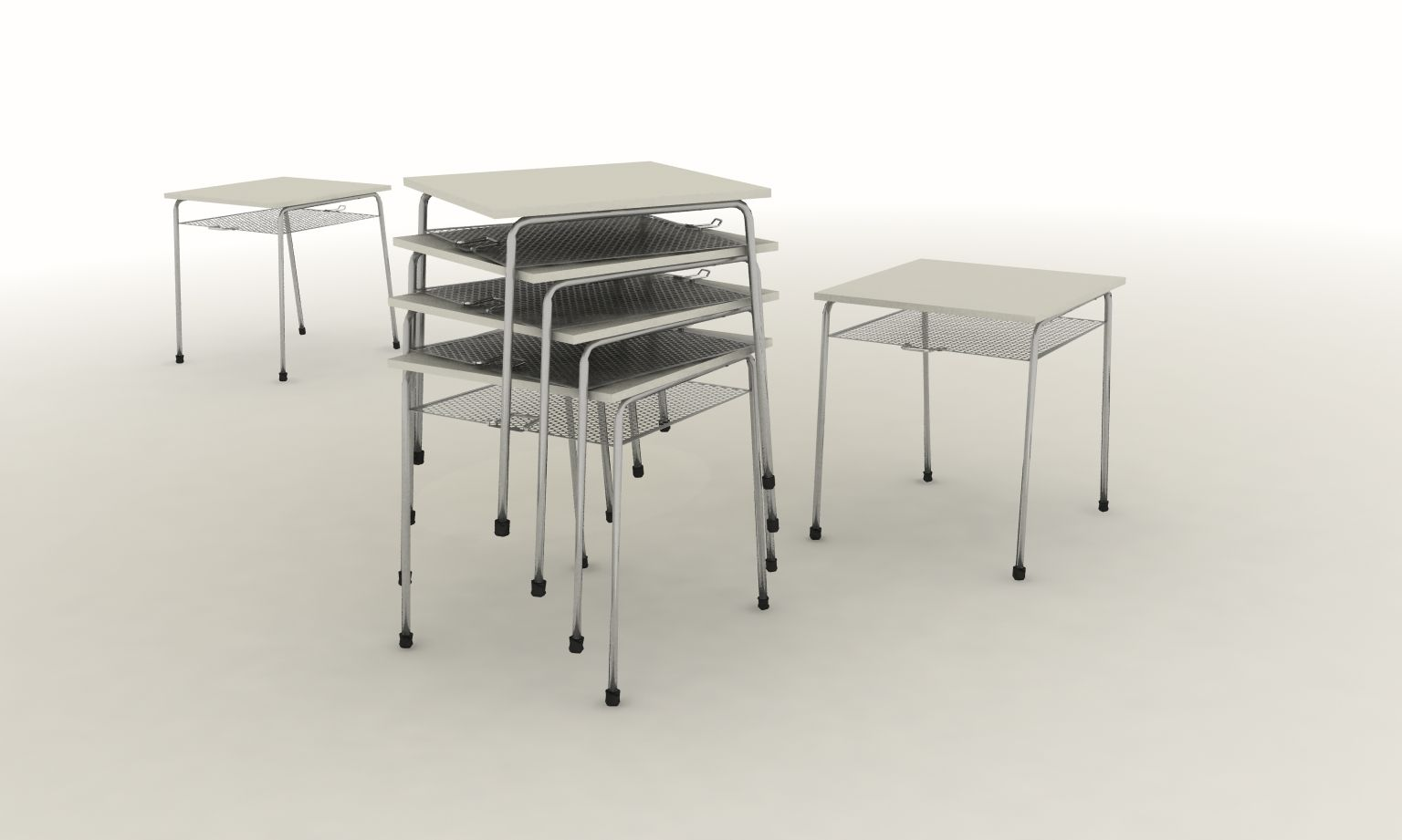 Enjambre - School Furniture Collection  Student's Desk, stackable + attachable modularity. Product design