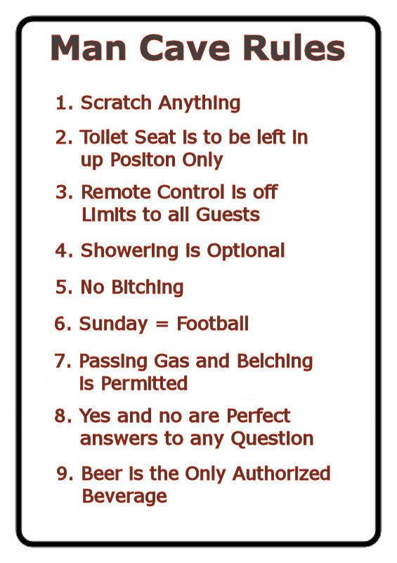 Man Cave Rules 9 X 11 5 Laminated Funny Sign Man Cave Rules Funny Signs Funny