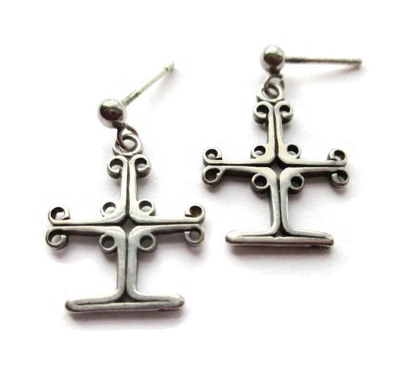 Ola Gorie Sterling Silver Cross Earrings Orkney Islands Scotland Scottish Dangle For