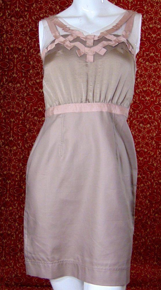 ANN TAYLOR LOFT beige polyester sleeveless dress 4P (TC2-02G7) #AnnTaylorLOFT #Shift #Cocktail