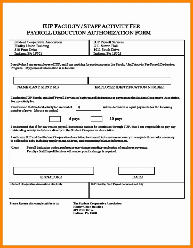 Payroll Deduction Authorization Form Template Unique 10 Payroll Deduction Authorization Form Template Free Payroll Template Payroll Templates