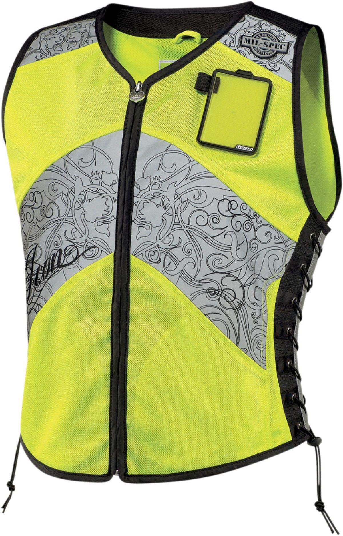 dfcf87b646c Icon womens mil spec corset motorcycle vest hi vis reflective yellow ...