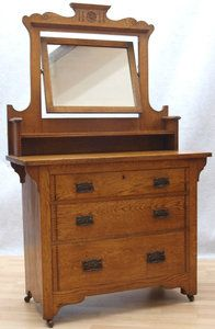 Vintage Solid Oak Arts Crafts Dressing Table Drawers William Morris Era