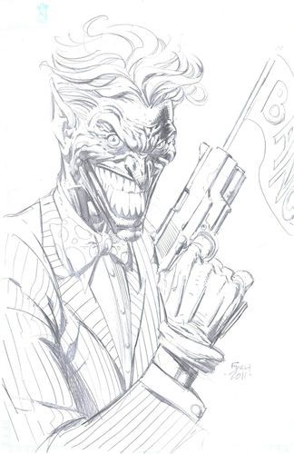 Joker By David Finch Commission Sketch Original Art Batman Pencil Harley Quinn