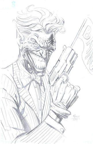 Joker by david finch commission sketch original art batman pencil harley quinn ebay