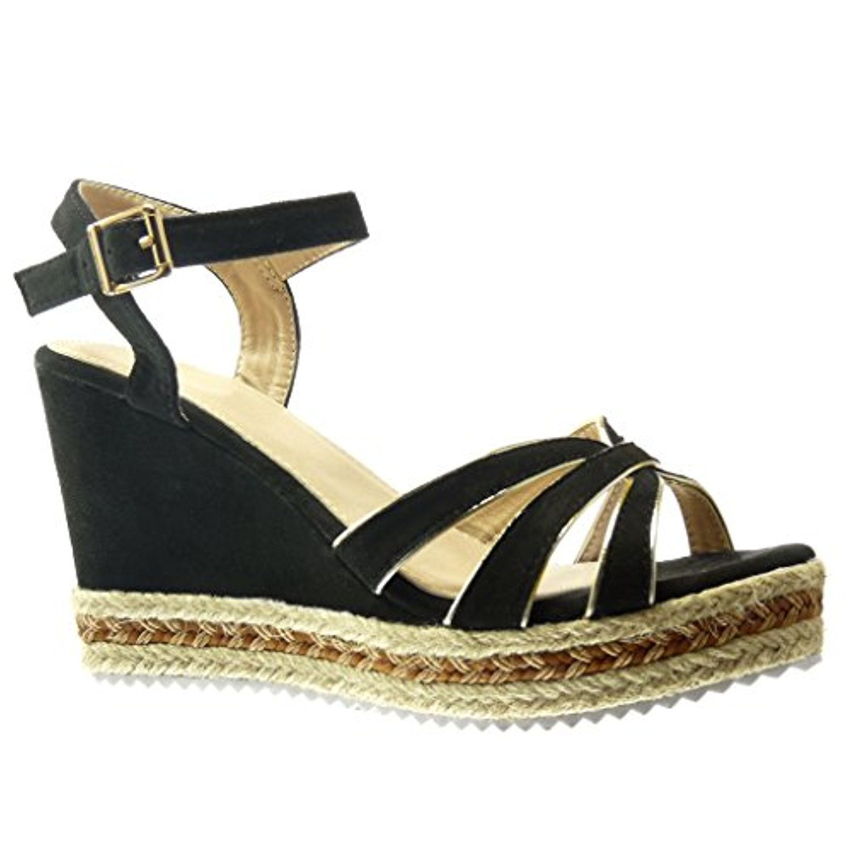 Angkorly Damen Schuhe Sandalen Espadrilles - Plateauschuhe - Seil Keilabsatz High Heel 11.5 cm - Blau BL206 T 38 leDgNA855w