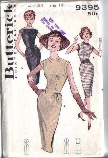 Vintage 60s Butterick Sewing Pattern 9395 Wiggle Sheath Dress Size ...
