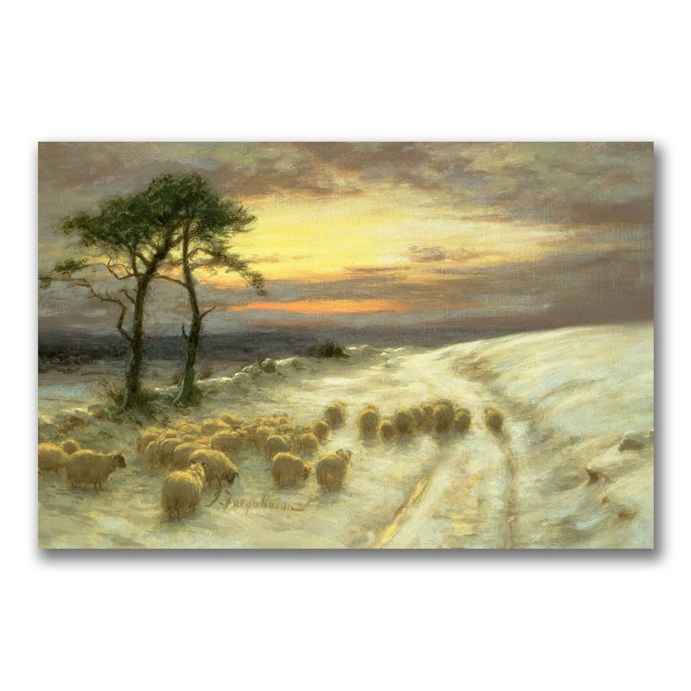 This ready to hang, gallery wrapped art piece features sheep in the ...