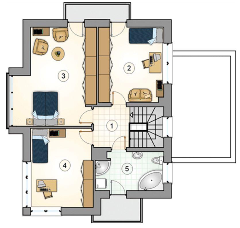 Plano de casa de 2 pisos y balcones