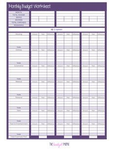 Printable Budget Worksheet Weekly Or Monthly Track Your Income